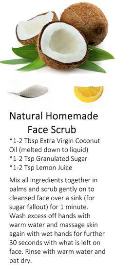 Coconut Lemon Sugar Face Scrub Charcoal Face Scrub, Sugar Scrub For Face, Extra Virgin Coconut Oil, Lemon Sugar, Face Scrub Homemade, Good Skin, Skin Care Tips, Scrubs, Beauty Tips