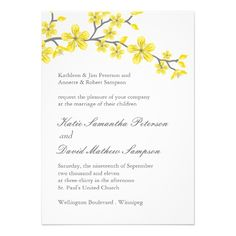 Lovely Yellow and Grey Blossoms Wedding Invitation