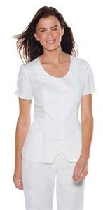 """Skechers Women's Button Front Weskit Scrub Top 25731 A V-Neck weskit style top features a notched front button closure, feminine fit and flare, front princess seams with release tucks, back yoke with back fit seams, sewn in front and back waistband, slightly shirred sleeve hem with faux button sleeve tabs, angled pockets, shirt tail hem. Center back length: 24 1/2"""" $22.00 #scrubs #scrubcouture #nurses"""