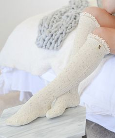 This Ivory Lace-Trim Knee-High Socks is perfect! #zulilyfinds
