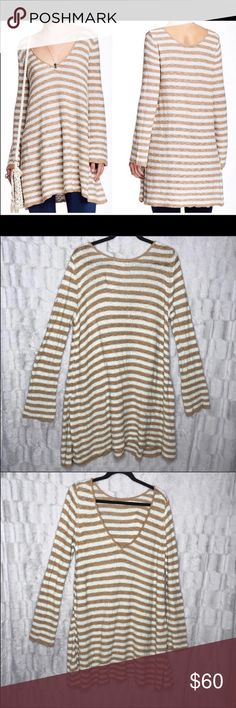 Free People Swing Stripe Tunic Long Sleeve Sweater Free People  Swing Stripe Tunic Long Sleeve Sweater Deep V, could be worn in the front or back Light Baby Blue & Brown / Cream / Tan Size Medium Preowned, please see pictures for condition and any wear     W Free People Sweaters V-Necks