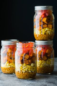 Southwestern Sweet Potato and Lentil Jar Salads