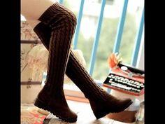 รองเท้าบูทแฟชั่นเกาหลีบูทยาวถักนิตติ้ง นำเข้า ไซส์34ถึง40 พรีออเดอร์RB2012 ราคา1750บาท - YouTube