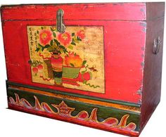 High Chinese Antique Trunk With Floral Hand Painted Design