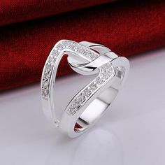 Trendy Silver Plated Geometric White Cubic Zirconia Ring for Women SPR437 5