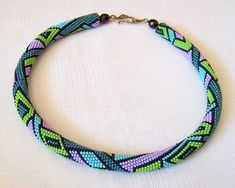 Beaded crochet rope necklace with geometric pattern  by lutita, $90.00