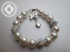 Girls bracelet Disco Ball Bracelet Baptism flower by JewlesDesigns, $40.00