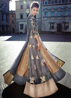 Beige N Grey Layered Floor Length Anarkali Suit