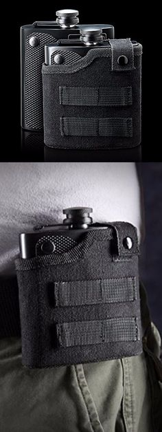 TACTICAL TGX ALCOHOL FLASK STAINLESS STEEL MOLLE WEBBING NYLON BELT HOLSTER