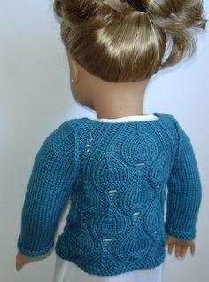 """Eva Cardigan knitting pattern for 18"""" American Girl dolls"""