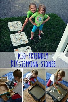 Here's an easy DIY project that's easy enough for kids to do (with a little supervision). Make concrete stepping stones using a pizza box and seashells. Fun!