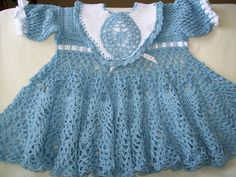 Crochet Baby Dress Blue Baby Dress Handmade by americanmadecrochet, $45.00