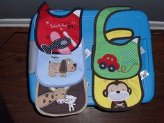 5pc Carter's Baby Bibs Infant Embroidered Saliva, Burp Towels Carter Brand New  #Carters