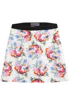 With Giles Deacon as Creative Director, Emanuel Ungaro is still as bold as ever. This silk twill skirt is bold but pretty, with vibrant florals a girlish contrast to the thigh-skimming length #Stylebop