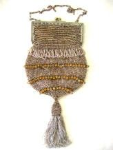 1920 flapper hand-knit beaded bag with fringe and tassel