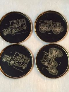 Old car model tin coasters small plates Set of 4 black and golden  #Unbranded