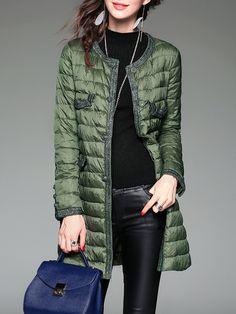 #AdoreWe TOOTANG Green Long Sleeve Paneled H-line Buttoned Down Coat - AdoreWe.com