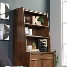 Add a little extra style and storage to your home office or workspace with this SAUDER Clifford Place Grand Walnut Library Hutch. White Wood, Dark Wood, Sauder Woodworking, Desk With Keyboard Tray, Modern Tabletop, Wall Mounted Desk, Decoration Inspiration, Furniture Inspiration, White Laminate
