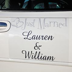 """Personalized """"Just Married"""" Two Hearts Car Door Cling. Wish the bride and groom well! Decorate the newlyweds' vehicle with this vinyl car door cling. Personalize with 3 lines of 12 characters/spaces per line. 17"""" x 11"""" © OTC"""