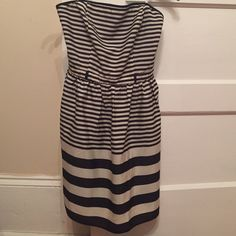 Navy blue and cream stripe strapless fit and flare NWOT Papaya Dresses Strapless