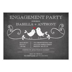 Trendy vintage chalkboard Love birds engagement Party invitation featuring a popular blackboard chalkboard with a cute pair of love birds with a heart sitting on a fancy flourish branch. For an extra special touch the back of our invitations coordinate with our front design. Fully customizable. http://bezazzled.com http://customprintpersonalizedweddingengagementannouncementcards.com #personalizedweddinggifts #personalizedengagement