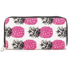 Tropical Wish Pineapple Print Wallet ❤ liked on Polyvore featuring bags, wallets, purses, white bags, pineapple bag and white wallet