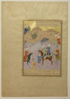 """""""Sultan Sanjar and the Old Woman"""", Folio 17 from a Khamsa (Quintet) of Nizami Author:Nizami (Ilyas Abu Muhammad Nizam al-Din of Ganja) (probably 1141–1217) Calligrapher:Sultan Muhammad Nur (ca. 1472–ca. 1536) Calligrapher: Mahmud Muzahhib Artist:Painting by Shaikh Zada Date:A.H. 931/A.D. 1524–25 Geography: Herat Medium:Ink, opaque watercolor, and gold on paper Dimensions:Painting: H. 7 1/4 in. (18.4 cm) W. 4 7/8 in. (12.4 cm)"""