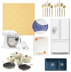 """I'm liking the yellow/blue color palette. """"Quirky Kitchen"""" design board. Dijonnaise wallpaper in the Martha's Vineyard Madison collection at Madison & Grow. Wave dinnerware from West Elm. Annapolis Navy Jonathan Adler kitchen sink by Kohler. Le Creuset 10-piece cookware in 'dune' from Williams Sonoma."""