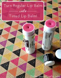 Turn regular lip balm into tinted lip balm! Check out how easy it is to transform cheap lip balm into any shade you want using stuff from the dollar store. Your lips will feel great and look great, all for just a couple bucks. Watch the how-to video or follow our written directions.