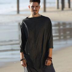 Gray Loose Long Sleeve Men's Festival Top | Etsy