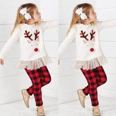 Toddler Kids Baby Girl Deer T shirt Tops+Plaid Pants Christmas Clothes Set Kids Christmas Outfits, Baby Girl Christmas, Christmas Clothes, Christmas Fashion, Fall Outfits, Kids Outfits, Fashion Outfits, Style Fashion, Toddler Fashion