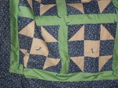 Shoo Fly Quilt in Blue and Green by acraftingheart on Etsy