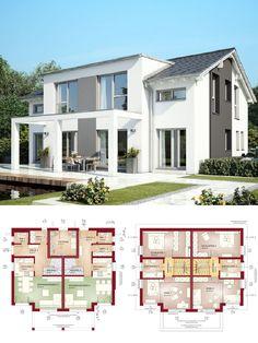 Modernes doppelhaus mit dachgeschoss 3 etagen haus for Doppelhaus modern bauen