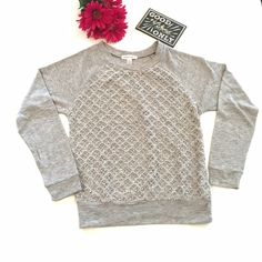 Forever 21 gray long sleeve top Nice top! New without tags.  This top has long sleeves and is cut like a sweatshirt.  It's got a lace overlay with sequins.  The sequins are very subtle. From the Forever 21 website; label says Ambiance Apparel Forever 21 Tops