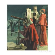 An Illustration Shows Galileo Explaining Moon Topography to Skeptics Giclée-Druck