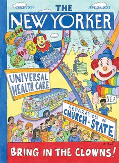 """Roz Chast talks about what inspired her dual cover this week, """"Bring in the Clowns!"""": http://nyr.kr/V3Kjo1"""