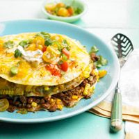 Stacked Sweet Corn, Bean, and Beef Casserole. This could easily be fixed to suit your tastes! YUM!!