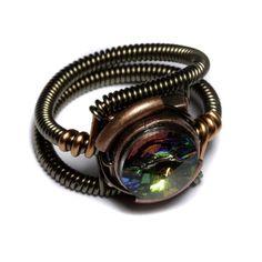 steampunk vitrial svarovski crystal ring