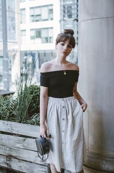 off-the-shoulder black top + striped midi skirt | www.alicecatherine.com 2017 05 07 la-redoute-lookbook-city-style