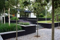 modern garden with tight lines and height differences Landscape Walls, Landscape Architecture, Backyard Patio, Backyard Landscaping, Sloped Garden, Backyard Makeover, Plantation, Dream Garden, Garden Inspiration