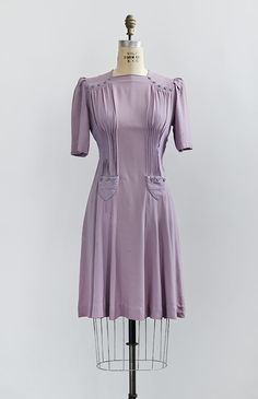 Vintage 1940s lilac rayon dress with button accents