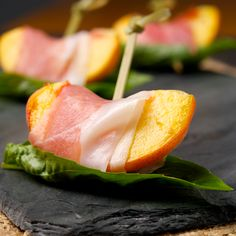 Skewered Peaches with Basil and Prosciutto - Oui, Chef