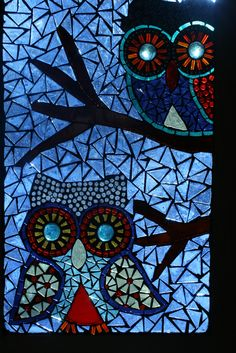 two owls | Two owls. 12x17 glass on glass panel. | Erin Haworth | Flickr
