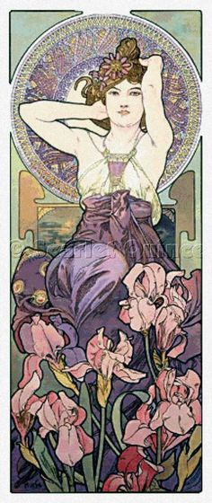Scarlet Quince cross stitch chart: Amethyst - Alphonse Mucha