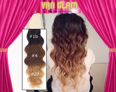 "Ombre / Clip In Hair Extensions / Wavy / 22"" / Double Drawn"