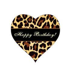 Gold Black Leopard Happy Birthday Heart Sticker