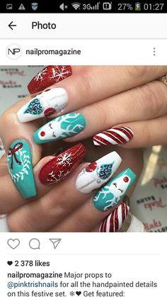 Reindeer Christmas nails red and aqua Xmas Nails, Holiday Nails, Christmas Nails, Red Christmas, Reindeer Christmas, Simple Christmas, Fancy Nails, Trendy Nails, Cute Nails
