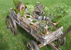 Miniature Fairy Garden In An Old Wagon