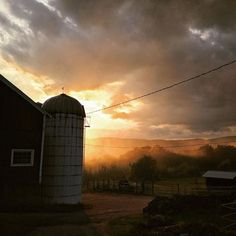 This just happened. I stepped out the kitchen door and went  #sunset #vermont #farmlife #soVT #barn #redbarn #familyfarm #landscape #wow