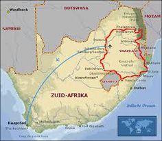 Plattegrond Zuid Afrika, Swaziland en Lesotho.